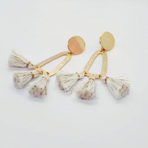 Boucles d'oreilles Frida écru-or