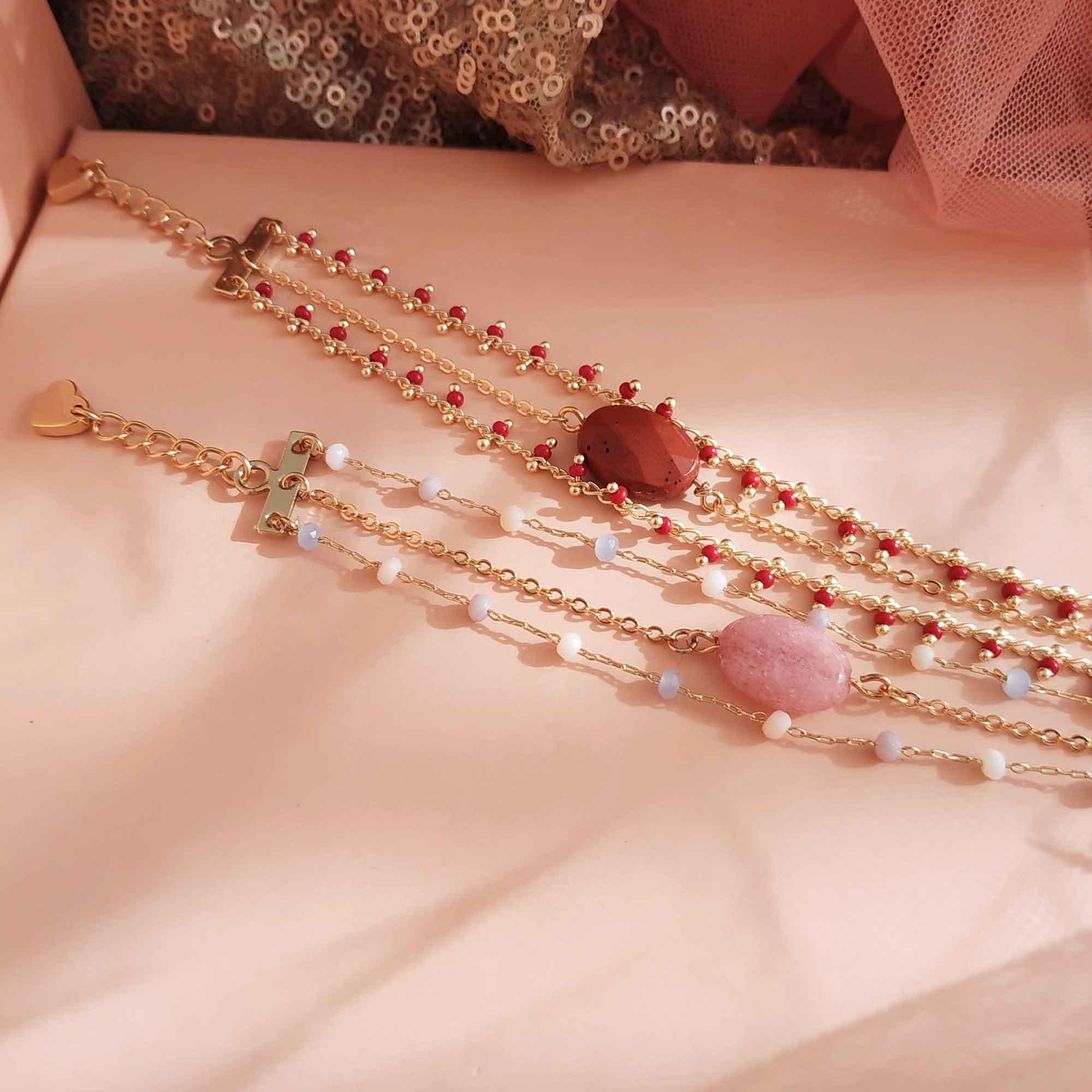 photo bracelet anna rouge rose