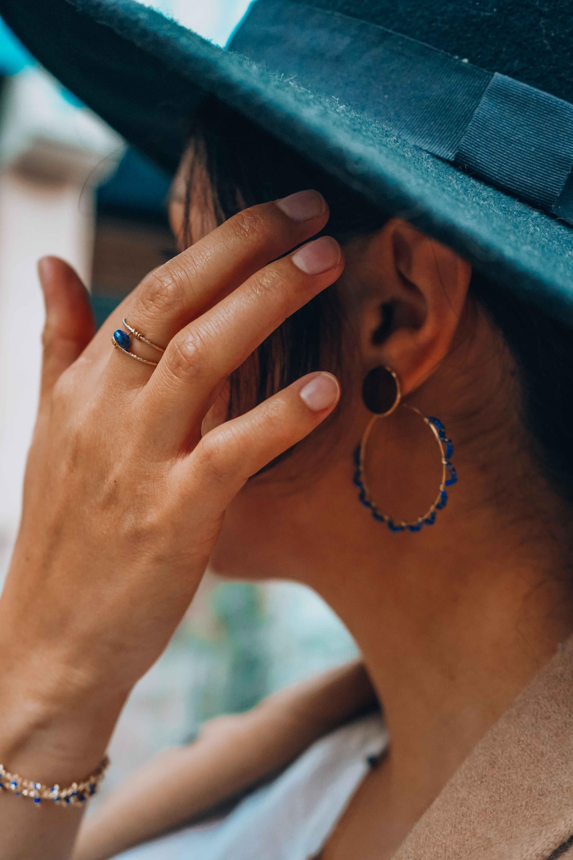 photo boucles d'oreilles Emmy lapis lazuli