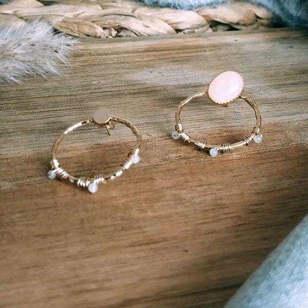image boucles oreilles Maü quartz rose