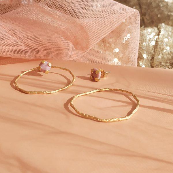 photo boucles oreilles charlie rhodonite rose