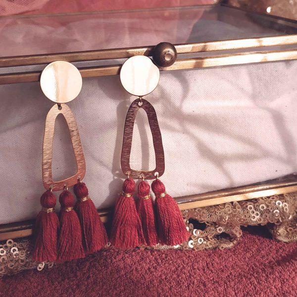 photo boucles d'oreilles Frida rouge cuivre